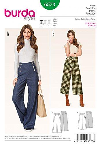 Burda Ladies Easy Sewing Pattern 6573 High Waist Wide Leg Trousers