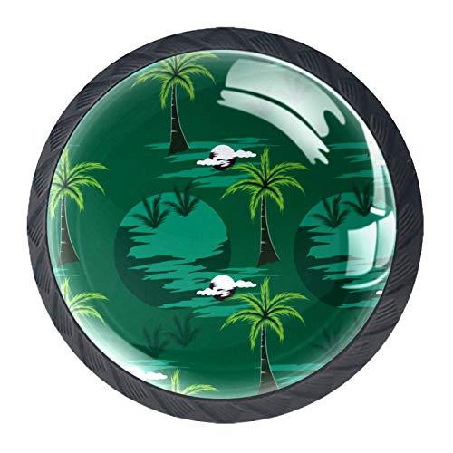 4 tiradores redondos de cristal transparente para cajones de armario, pomos con tornillos para cocina, aparador, armario, baño, armario, palmera, verde