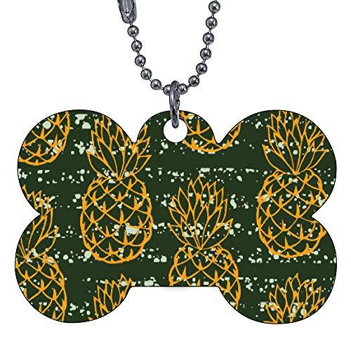 Custom Pet ID Tags, Pineapple Pattern Bone Personalized Dog Tags Cat Tags Identification Custom Text Pet Tag Bow Tie