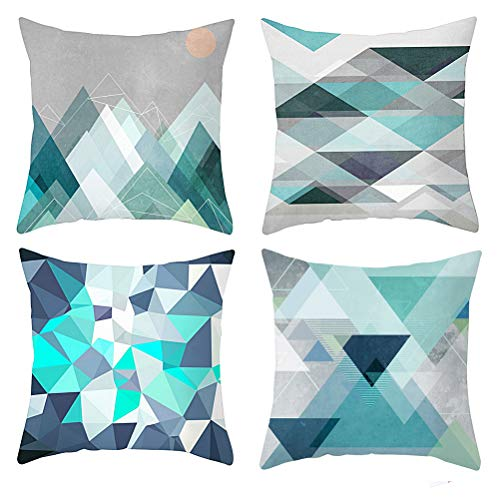kuou Knya 4 pcs Geometric Cushion Covers, Pattern Pillow Covers Set with Geometric Pattern Sofa Cushions Square Decorative Throw Pillow Case for Sofas Beds Chairs