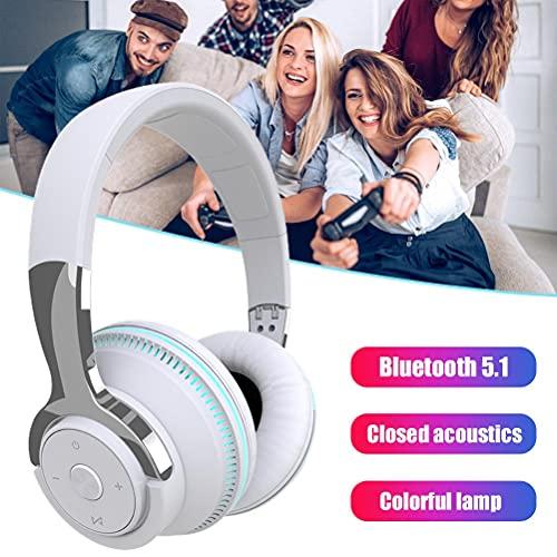POXIAO Auriculares inalámbricos LED H2 Auriculares Bluetooth 5.1 Auriculares portátiles Ajustables multifuncionales con cancelación de Ruido
