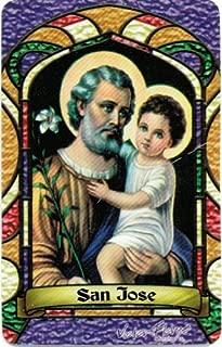 San Jose St. Joseph Bilingual Prayer Card With Vinyl Sleeve Estampa Religiosa Bilingue Con Funda De Vinilo.