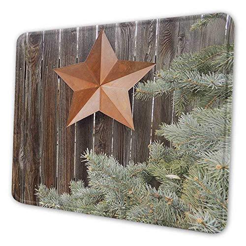 Primitive Land gedruckt Mauspad großen orange Stern auf rauen Holzzäunen Kiefer und Zweige drucken Mauspad für Kinder orange grün braun