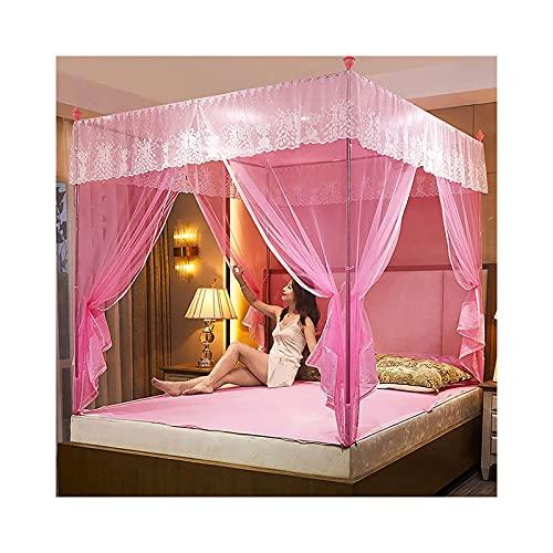 Pkfinrd Mosquito Red para Cama de Cama con Marco - 3 inauguración de Tiendas Plegables para Cama de 1,2 m - Cama de 2.0 m, niñas y Adultos Gemelo a Cama King Size. (Color : Pink, Size : 1.5m Bed)