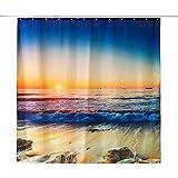 ENCOFT Duschvorhang Anti-Schimmel Wasserdicht Polyester mit 12 Duschvorhangringe Waschbar 180x180cm