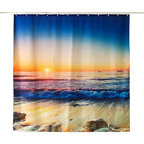 ENCOFT Cortinas de Ducha Antimoho Cortinas de Baño en Poliéster Impermeable con 12 Ganchos de Plástico Cortinas de Bañera, Mar 180x180cm