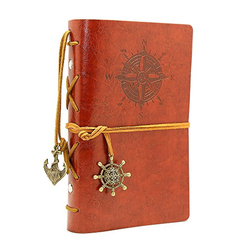 Leather Writing Journal Notebook, EvZ 7 Inches Vintage Nautical Spiral Blank String Diary Notepad Sketchbook Travel to Write in, Unlined Paper, Retro Pendants, Classic Embossed, Red Brown