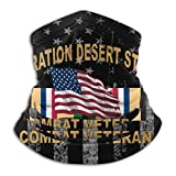USA Flags Operation Desert Storm Combat Veteran Unisex Fleece Neck Warmer Hats Headwear Tube Neck Scarf Neck Gaiters