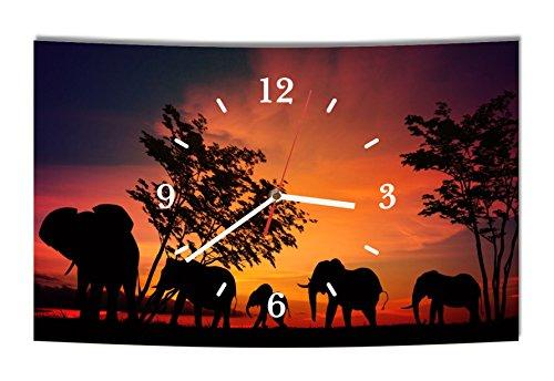 Homeyourself LAUTLOSE Designer Wanduhr Afrika Elefant Elefanten schwarz orange modern Dekoschild Abstrakt Bild 38 x 25cm