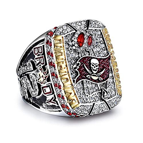 2002 Anillo de campeonato de la NFL Tampa Bay con super #bowl box # campeón pirata para la colección de regalos de los fanáticos de TB Bucs 9 # anillos + caja de madera