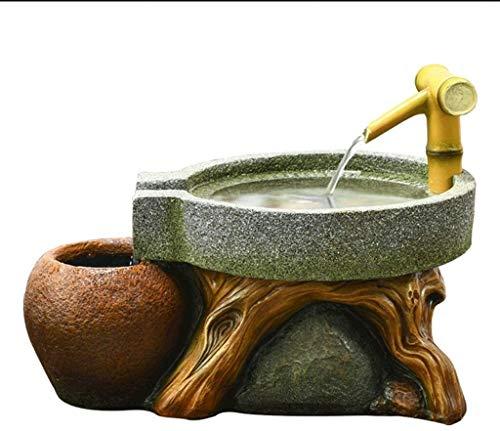KEKEYANG Fuente de Interior de Interior Fuente de Piedra Molino de bambú Fuente de Escritorio de la Sala de Oficina decoración de Escritorio Fuente Interior