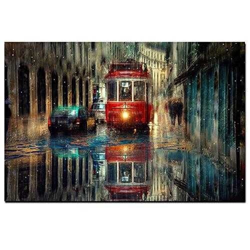 Retro Lisboa Ciudad Calle Paisaje Pintura Al Óleo En La Lona De Arte Red Bus Rainy Carteles E Impresiones Cuadro De La Pared Para Dormitorio, Vestíbulo, Oficina, No Enmarcado,40×60cm