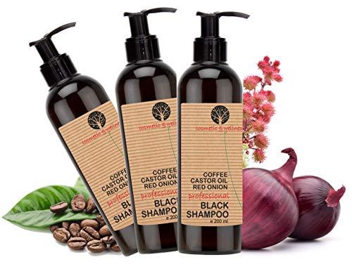 Shampoo Nero alla Caffeina, Olio di Ricino e Estratto di Cipolla Rossa Anticaduta Crescita dei capelli 3 x 200 ml