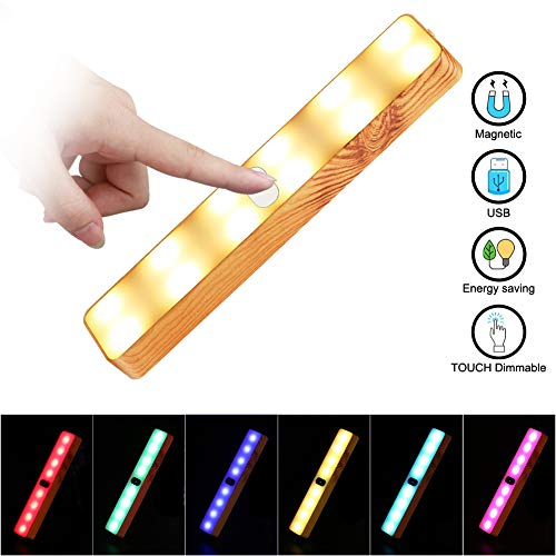 Led houtnerf wandlamp met USB-aansluiting aan te raken, 3 W lamp voor nachtkastje wandverlichting wandlamp reizen