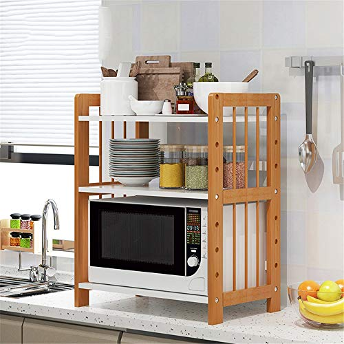 Mikrowellenherd-Rack Holz Multifunktionale Rack Multi-Layer-große Kapazitäts-Storage Rack-Blumen-Rack-Bowl Ofen Rack für Küche Badezimmer (Color : Wood, Size : 61 x 39 x 79cm)