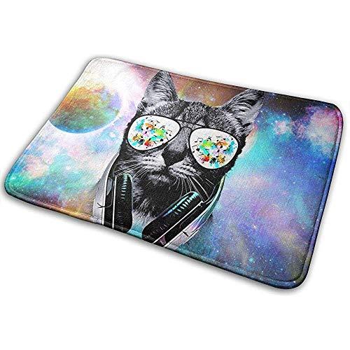 Sesily - Felpudo DJ Cat con soporte para auriculares, alfombra de bienvenida, felpudo, felpudo, entrada al suelo, para interior y exterior