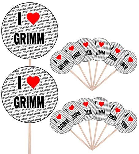 I Love Grimm – Party Food – Cake Cupcakes – Picks Sticks – Food Flaggen – Stand Up Dekoration Topper (14 Stück)
