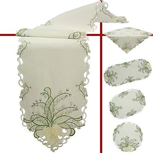 Quinnyshop Weiße Maiglöckchen Stickerei Tischläufer 40 x 90 cm Oval Polyester, Creme