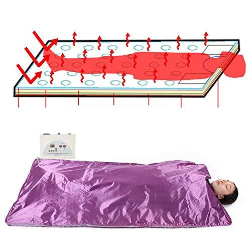 Zouminy Infrarood saunaaakken op afstand infrarood detox-sauna verwarmingsdeken body fitness anti-aging machine lila #1 110V