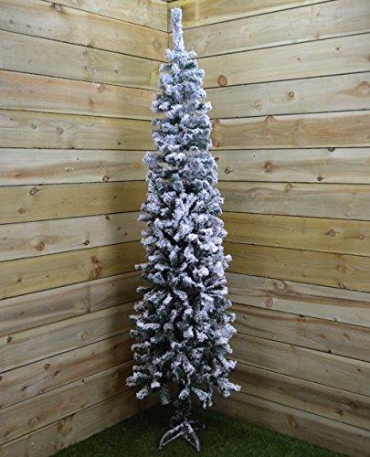 2m (6.5ft) Snow Flocked Spruce Pine Slim Christmas Tree in Green