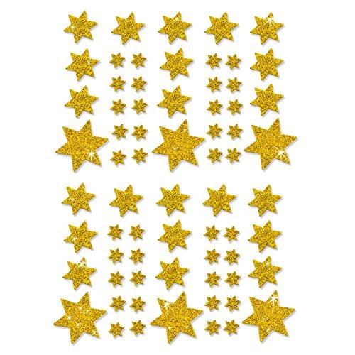 Oblique-Unique® Weihnachts Sterne Sticker Aufkleber - Deko Weihnachten - Farbe wählbar (Gold)