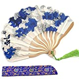 Silk Hand Fans with Silk Covering Curved Frame with Tassel Folding Fans for Women Girls Bamboo Frame with Silk Case Handhold Craft Fan Japanese Chinese Style Gift Fan Flower Pattern for Handbag