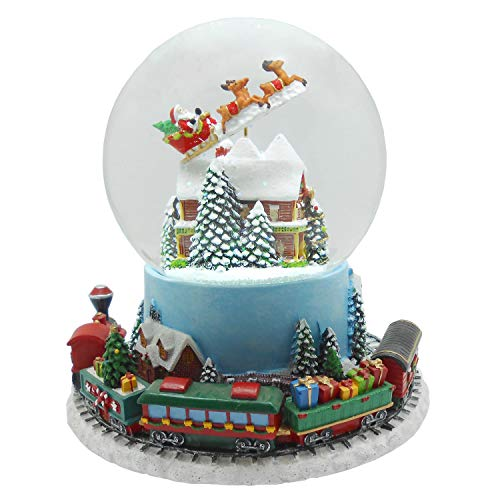 Lightahead Musical Flying Santa Figurine 120MM Poly Resin Water Snow Globe with Inside House and Train at Base revolving