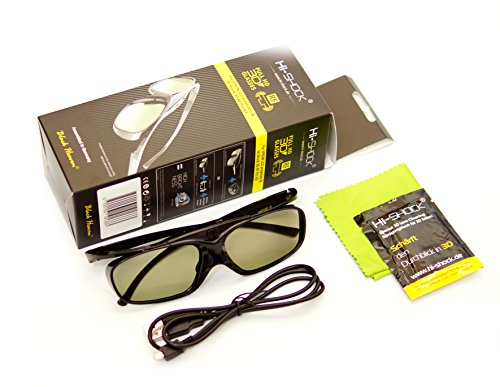 Hi-SHOCK BT/RF Pro Black Heaven   Aktive 3D Brille für 3D TVs von Sony, Samsung, Panasonic & 3D-RF Beamer von Sony, Epson [120 Hz   wiederaufladbar   32g   RF/Bluetooth]