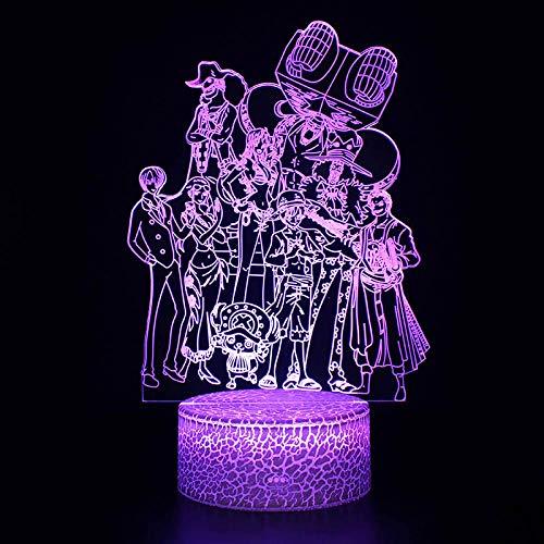 Lampara 3D Iluminación One Piece Anime 3D Ilusión Led Lámpara Luffy Zoro Modelo Night Lightskids Room Decoration Regalos Creativos De Navidad@Base Blanca