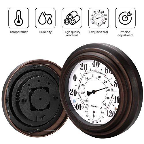 Vvciic Innen- / Außenthermometer Hygrometer Wand Metall Dekorative Big Hanging Hygrometer Runde Schöne Thermometer Für Zimmer Küche Innenhof