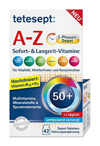 tetesept Vitamin A-Z Duo Complete – Nahrungsergänzungsmittel für Vitalität, Wohlbefinden und Konzentration – Für Erwachsene ab 50 – 1 x 42 Depot-Tabletten