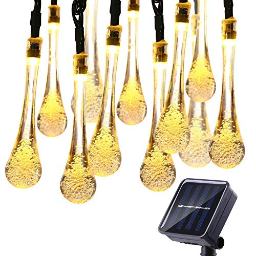 6M LED Solar Bombilla, Cuerda De Gotitas De Bulbos De Cuerda Luces De Colores para Impermeable Al Aire Libre del Césped del Jardín De La Lámpara, Steady-ON para Jardín, Patio,Warm White 4m
