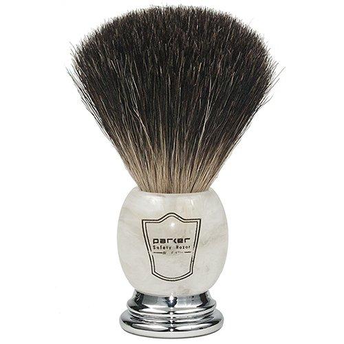 Parker Safety Razor 100% Blaireau Noir de Première Qualité Brosse à raser avec poignée marbré - Brosse Support fourni Ivoire