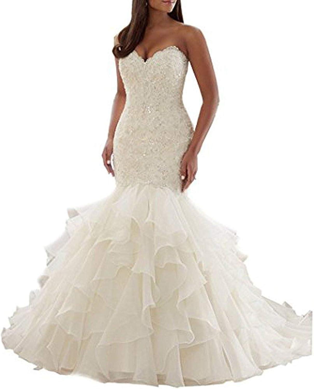 P.L.X Women Appliqued Lace Vintage Wedding Gowns Mermaid Bridal Dresses Formal Occasion