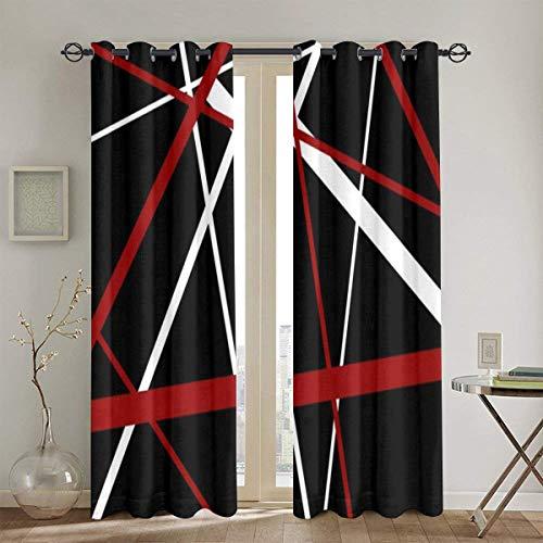 Lochvorhänge,rote,weiße und schwarze Streifen Twitter Hintergründe Wohnzimmer Schlafzimmer Fenster Vorhänge 2 Panel Set,