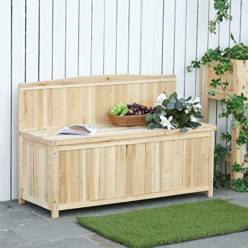 Outsunny Gartenbank mit Stauraum Truhenbank Sitzbank 2-Sitzer 250 kg Belastbarkeit Natur Tanneholz 115 x 45 x 75 cm - 6