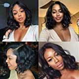 ISEE Lace Front Wigs Body Wave Human Hair Wigs Brazilian 13X4 Body Wave Wigs Human Hair Lace Wigs for Black Women Pre Plucked Natural Color(12 Inch)