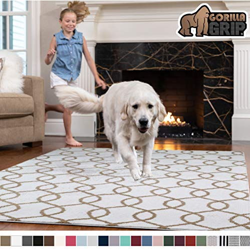 Gorilla Grip Original Faux-Chinchilla Rug, 4x6 Feet, Super Soft and Cozy High Pile Washable, Modern Rugs, Luxury Shag Carpets for Home, Nursery, Bed and Living Room, White and Beige