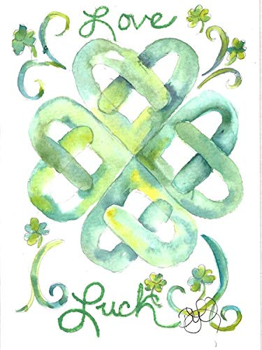 Celtic Blank Note Cards: 4 Blank Artistic Watercolor Notecards, with Envelopes - Love & Luck Celtic Heart Knot