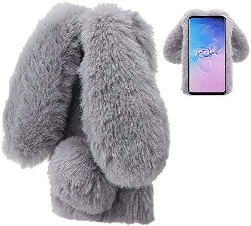 LCHDA Plüsch Hülle für Samsung Galaxy A51 Flauschige Hasen Fell Handyhülle Mädchen Süße Künstlicher Kaninchen Pelz Niedlich Hasenohren Handytasche Schützend Stoßfest Silikonhülle - Grau