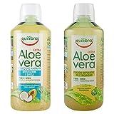 Equilibra Succo di Aloe Vera Extra, Classico, 1 l + Aloe Vera Succo con Cocco e Papaya, 500 ml