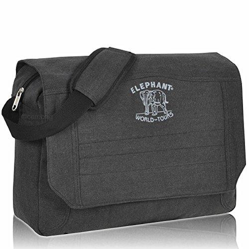 Elephant Messenger CUBANGO Bag Umhängetasche Canvas Tasche Farbauswahl (Schwarz)