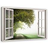 Feeby Cuadro de Pared XXL Vista de la Ventana Impresión Lienzo Paisaje Verde 120x80 cm