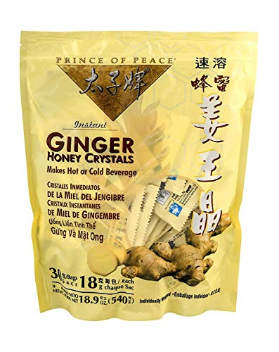 Prince of Peace Instant Ginger Honey Crystals, 30 Sachets – Instant Hot or Cold Beverage for Nausea Relief and Soothes Throat – Easy to Brew Ginger and Honey Crystals – Drink Like a Tea – Caffeine