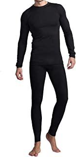Thermal Underwear for Men, Mens Long Johns Set Fleece Lined Long Sleeve Thermals Black