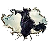 Black Panther Wall Decal 3D Super Hero Wall Stickers Removable PVC Cartoon Wall Sticker for Kids Bedroom Living Room Playroom Wall Décor, 16 inches x 24 inches (Super Hero)