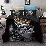 SDIII 3PC The Dead Couple Set Heart Kiss Decorative Full/Queen Size Duvet Cover Set Skull Bedding Sets No Comforter Inside