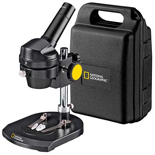 National Geographic - Microscopio (20 aumentos, para observar Piedras, Monedas, Hojas o similares, Incluye Placa de Objeto Bicolor y maletín de Transporte)