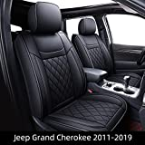 HUIDASOURCE Car Seat Covers, Fit for Jeep Grand Cherokee 2011-2019, Airbag Compatiable Full-Set Car Seat Covers, Waterproof Leather, Car Seat Cushion Coverv(Black)(14-Piece Set)