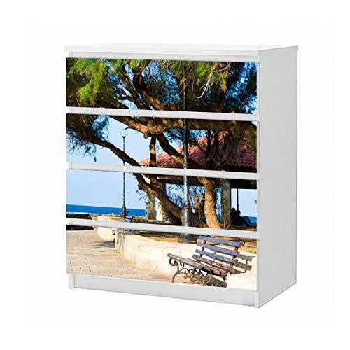 Set Möbelaufkleber für Ikea Kommode MALM 4 Fächer/Schubladen See Bank Landschaft Oriental Urlaub Aufkleber Möbelfolie sticker (Ohne Möbel) Folie 25B1485